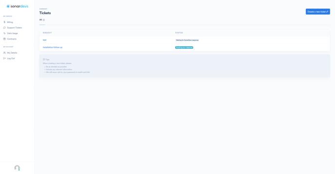 sonar-create-ticket-page